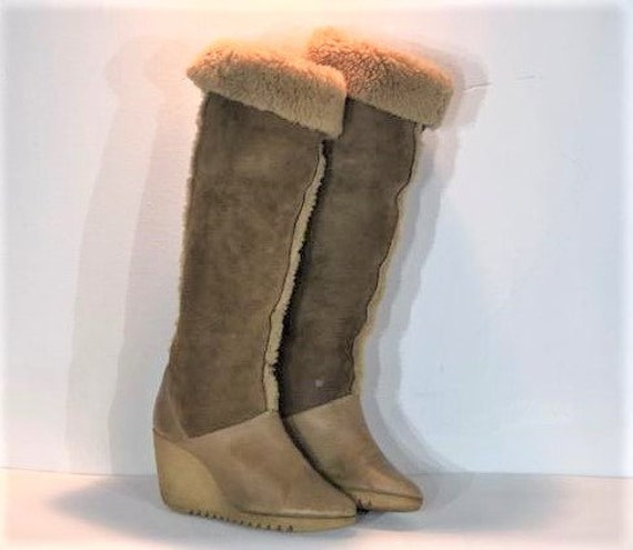 1970s Cherokee shearling winter boots - size 6 - 1