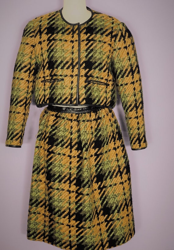 1960s Bonnie Cashin checked wool suit with leather