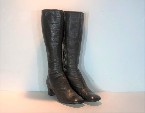 1960s dark brown leather mod boots - size 8.5 - 19