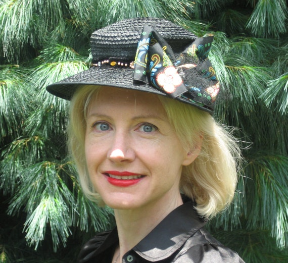 1940s black straw cap with large fabric bow
