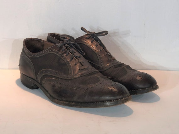 1930s men's brown leather oxfords - size 11 - 1930
