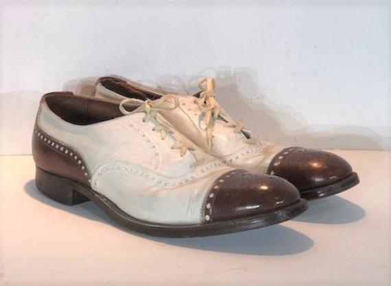 1930s men's leather spectators - size 11 - 1930s … - image 1