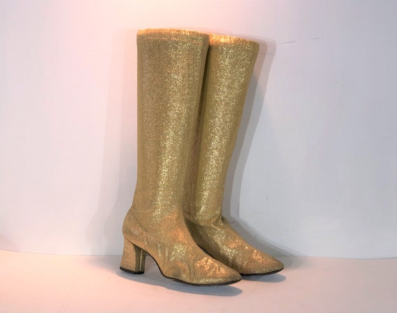1960s gold lurex go go boots - size 7.5 - 1960s go