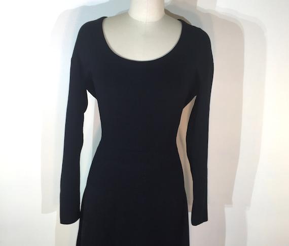 1940s black wool knit dress- medium - 1940s black… - image 2