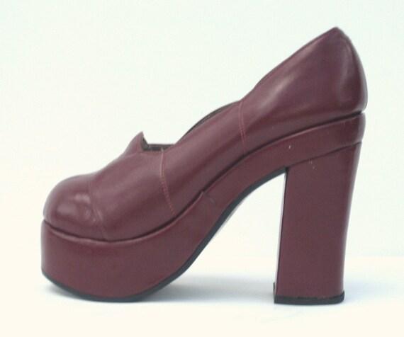 1970s burgundy leather super high platforms - size