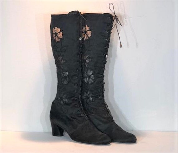 1960s black satin embroidered mint boots - size 8.