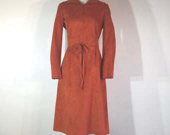 1970s burnt orange faux suede dress - small to medium - 1970s boho dress - 1970s suede dress - 1970s secretary dress