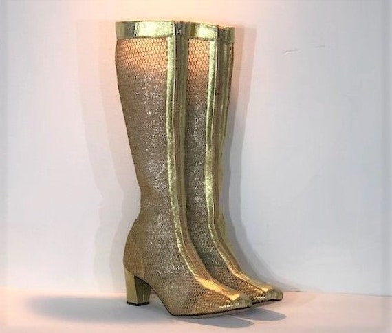 1960s gold fishnet boots - size 8.5 narrow - 1960s