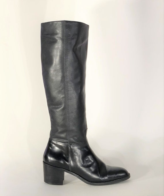 1970s black leather boots - size 9 - 1970s leathe… - image 3