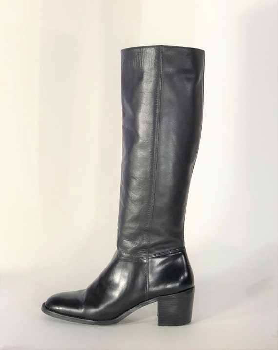 1970s black leather boots - size 9 - 1970s leathe… - image 4