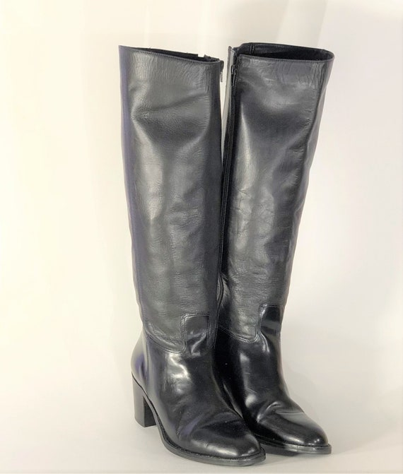 1970s black leather boots - size 9 - 1970s leathe… - image 1