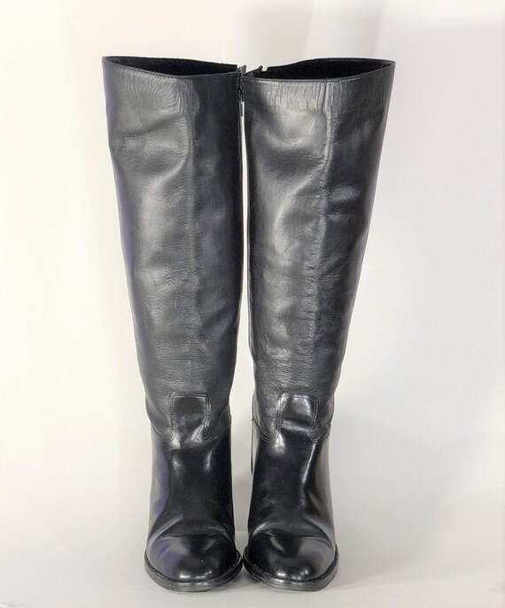 1970s black leather boots - size 9 - 1970s leathe… - image 2