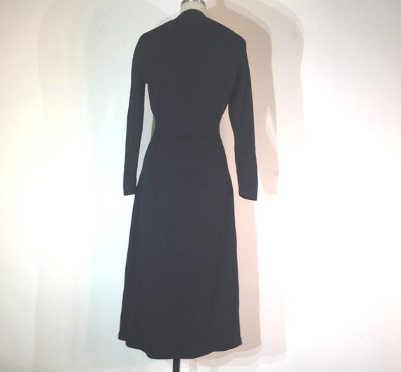 1940s black wool knit dress- medium - 1940s black… - image 5