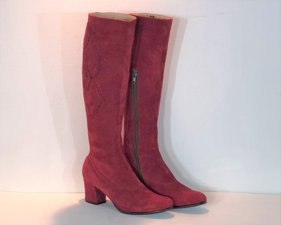 1960s red suede boots - size 6 - 1960s mod boots i