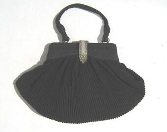 1930s Art Deco vintage black shell-shaped ruched fabric evening bag - 1930s deco evening bag - 1930s evening purse - 1930s art deco handbag
