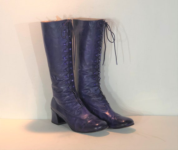 1960s purple leather lace up boots - size 6.5 - 19