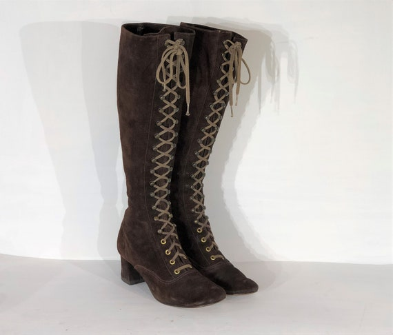 1960s brown suede lace up boots - size 8 - 1960s l