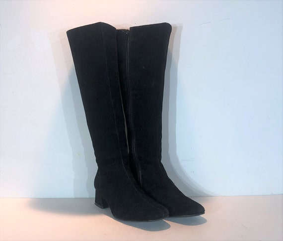 1960s mod suede knee high boots - size 9 narrow -