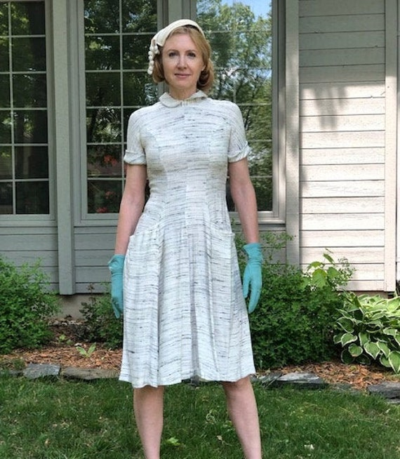 1940s vintage dress - medium - 1940s shirtdress in