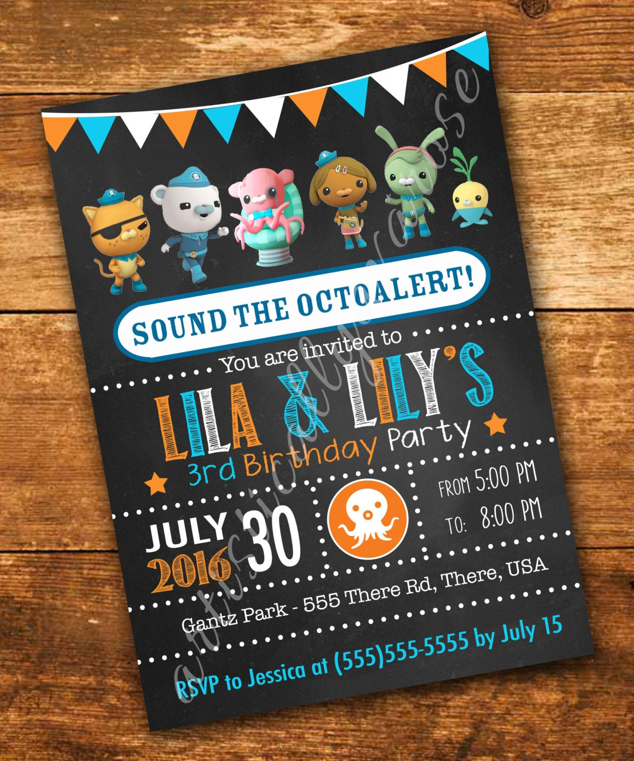 Octonauts Inspired Birthday Invitation - Digital PDF