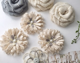 Gray Burlap Flower Set Of 7