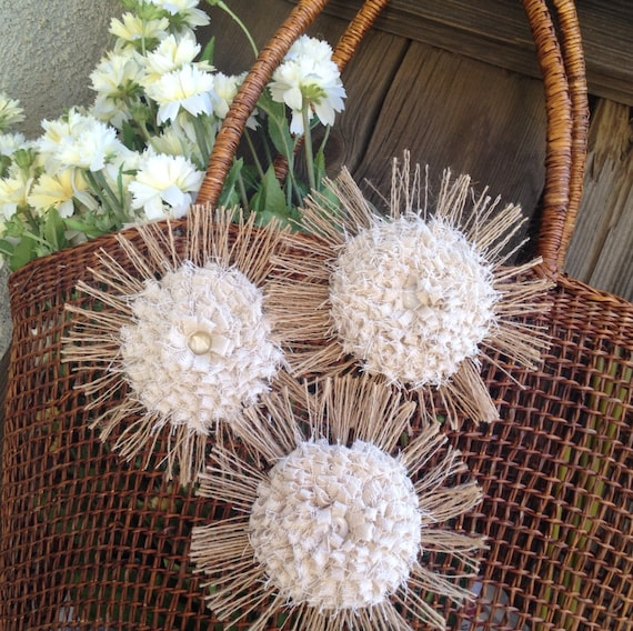 Items Similar To Shabby Chic Burlap Flower Set Of 3