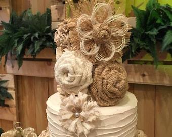 Burlap Flower Assortment - Set of 10 - Cake Topper - Shabby Chic - Rustic