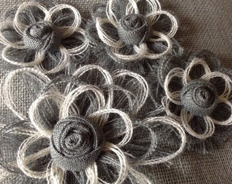 Gray and White Burlap Flower -set of 4 -