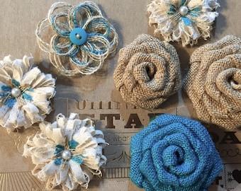 CHOOSE ACCENT COLOR - Handmade burlap flower set of 7 - Rustic wedding decorations, wedding flowers, rustic flowers, colored burlap, country