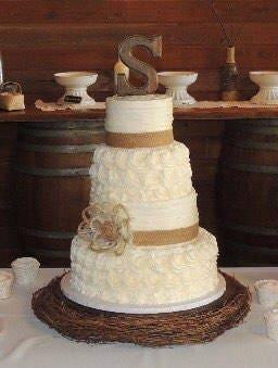 Rustic Wedding Cake Burlap Flower Farmhouse Southern Barn ...