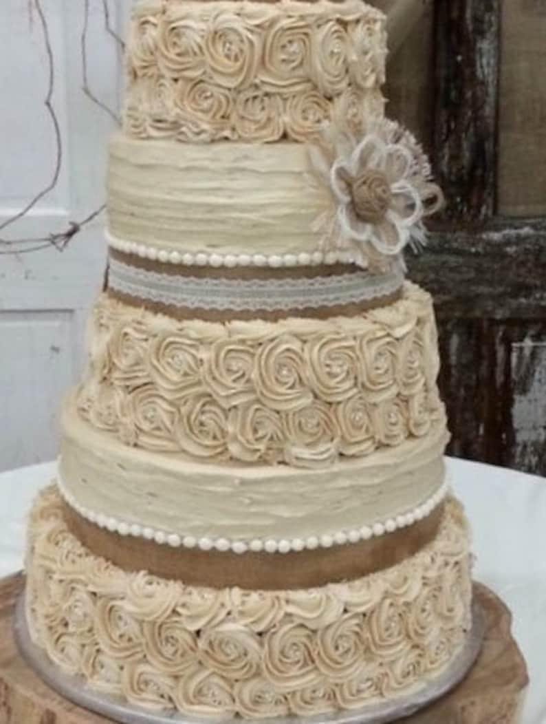 Rustic Wedding Cake Burlap Flower Farmhouse Southern Barn Etsy