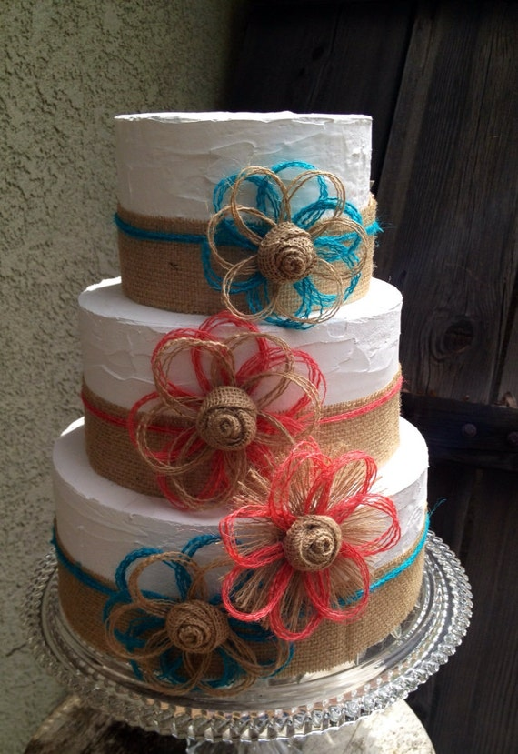 Items Similar To Coral And Turquoise Cake Topper Burlap
