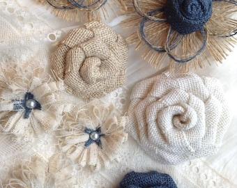 Navy Burlap Flower Set - Shabby Chic - Rustic - Navy Roses - DIY Home Decor - Wedding Decor