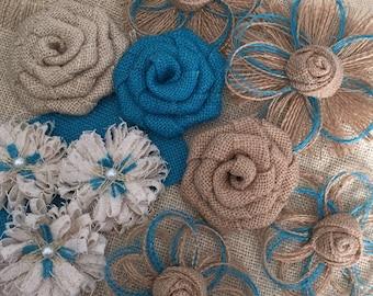 Burlap Flower Assortment - Set of 10 - Shabby Chic - Rustic