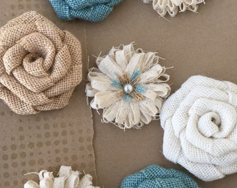 Blue Burlap Flower Set of 7 - Rustic Flowers, Shabby Flowers, Shabby Chic, Rustic Roses
