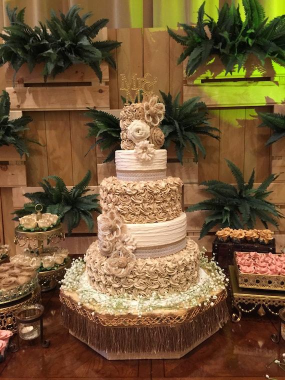 Rustic Wedding Cake Burlap Flower Assortment Set of 10 | Etsy