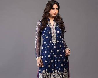 Zainab Chottani inspired formals, royal blue and magenta, women clothing, salwar