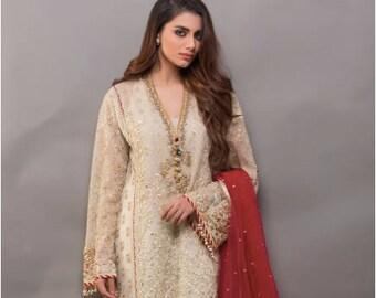 212ce7cabef142 Sania Maskatiya inspired organza shalwar kameez, beige/gold embroidery, women  clothing