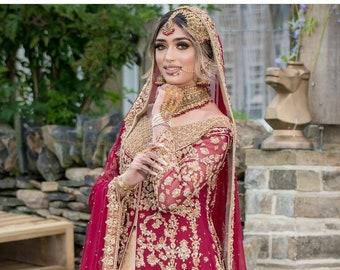 Pakistani Traditional Red and Champagne Bridal dress