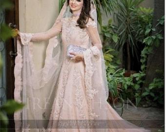 268c0e70c3 Pakistani bridal maxi dress, long pink gown, bridal dress, wedding outfits