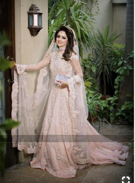 Items Similar To Pakistani Bridal Maxi Dress Long Pink Gown Bridal