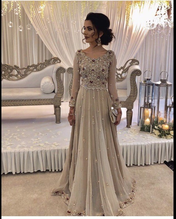 Pakistani Formal Maxi Dress Long Net Gown Etsy,Where To Sell Wedding Dress Locally