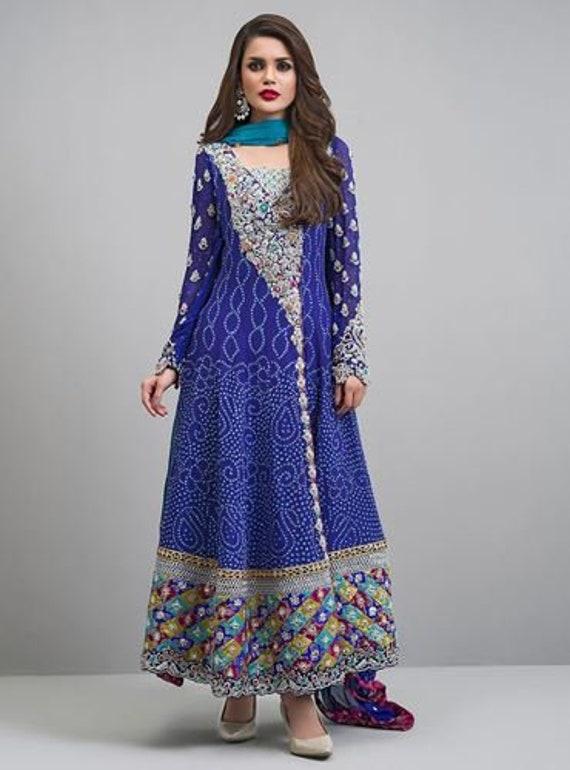 86fd6d1569 Zainab Chottani inspired cobalt angarkha women clothing | Etsy