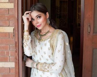 Pakistani white bridal gharara, nikah gharara