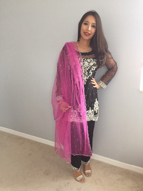 8787a66a3e Ready to Ship Pakistani formal outfit black net | Etsy