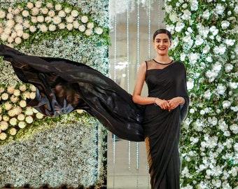 Black Silk Sari