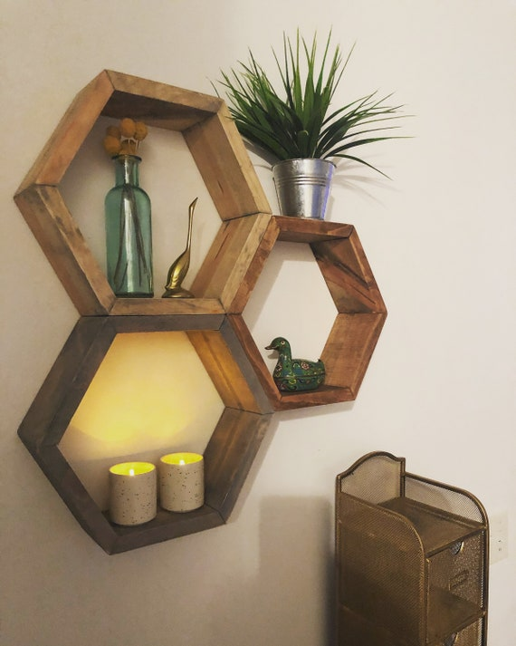 Hexagon Made To Order Wood Shelf by Etsy