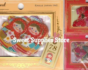 Russian Dolls Matrioshka Heart Ribbon Gold Frame Stickers 78 pieces Flat Rate Shipping