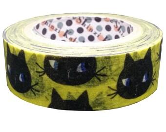 Black Cat Face Japanese Washi Tape Masking Tape  Shinzi Katoh  Price depends on order volume.