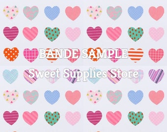 Sample (48 Stickers) BANDE Heart Japanese Washi Stickers  Flat Rate Shipping